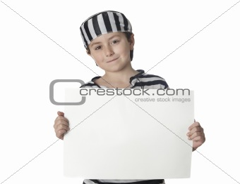 Smiled child with prisoner costume and blank poster