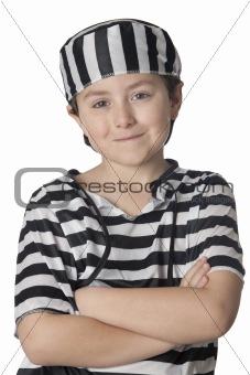 Smiled child with prisoner costume
