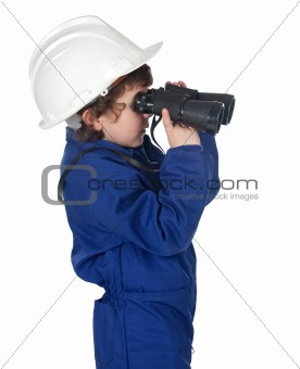 Adorable worker child with binoculars