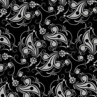 black flower seamless pattern