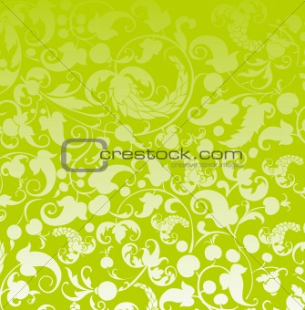 green seamless leaf and fruit background