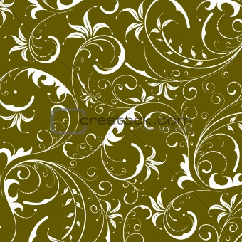 green seamless flower damask background