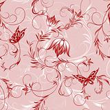 pink flower and butterfly pattern