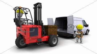 man in forklift truck loading a van