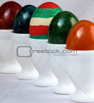 Clarify colored Easter eggs in a row