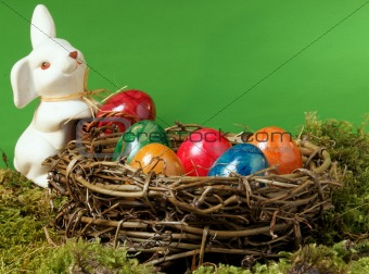 An Easter nest with an Easter hare