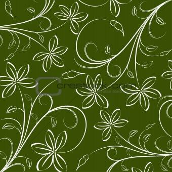 green seamless flower pattern