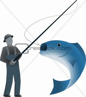 Fisherman and a fish on hook