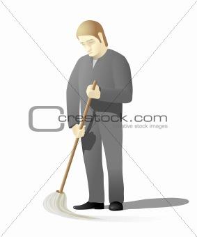 Sad man mopping floor