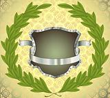 Shield with ribbon and wreath