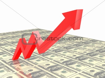 Business Graph, 3d rendered conceptual arrow chart.