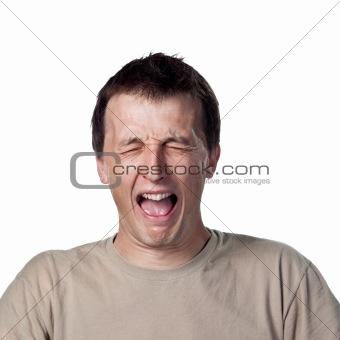 Grown man crying