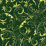 seamless yellow flower pattern in green background