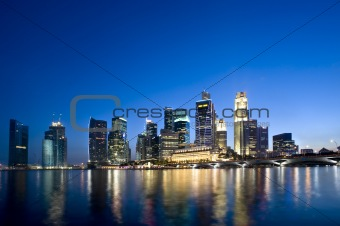 Beautiful Singapore CBD at dusk