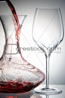 Pouring wine into decanter
