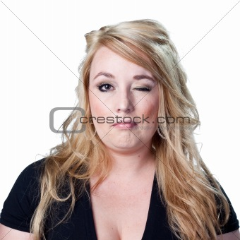 Blond lady winking