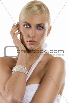blond girl with the bracelet