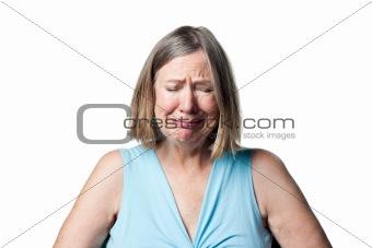 Crying senior woman