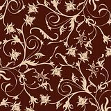 brown flower seamless pattern