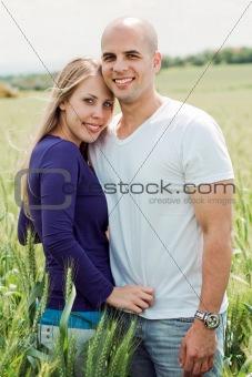 Portrait of lovely lovers hugging