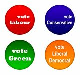 British party political badges