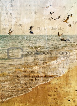 Flight of seagulls over the sea.
