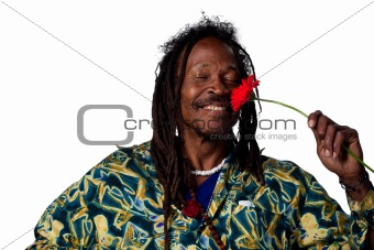 Rastafarian with flower