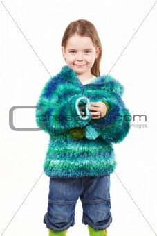 Little girl in fur coat