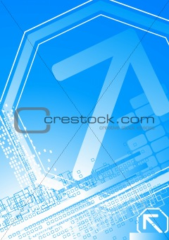 Bright background with big arrow