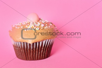shot of a chocolate cupcake on pink background