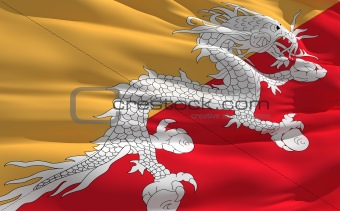 Waving flag of Bhutan