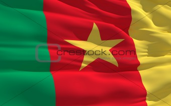 Waving flag of Cameroon
