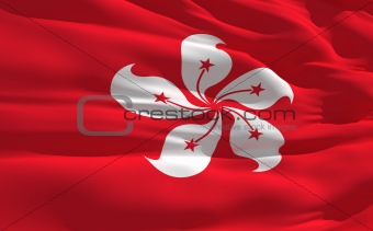 Waving flag of Hong Kong