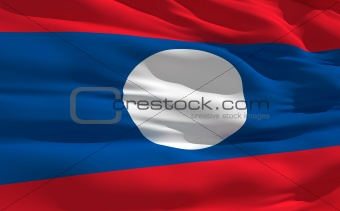 Waving flag of Laos