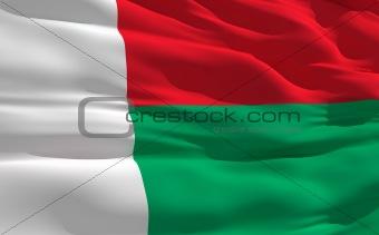 Waving flag of Madagascar