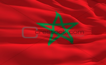 Waving flag of Maroc