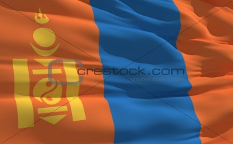 Waving flag of Mongolia
