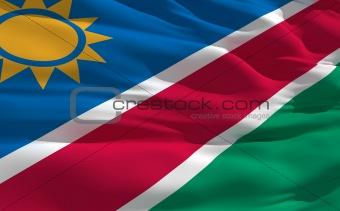 Waving flag of Namibia