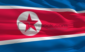Waving flag of North Korea