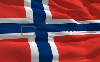 Waving flag of Norway