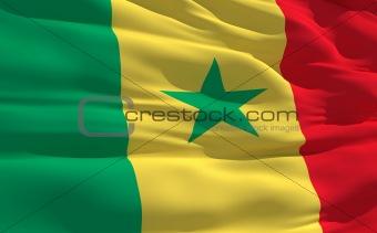 Waving flag of Senegal