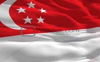 Waving flag of Singapour