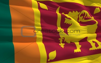 Waving flag of Sri Lanka