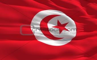 Waving flag of Tunisia