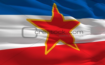 Waving flag of Yugoslavie