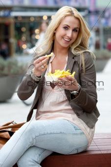 eating fries