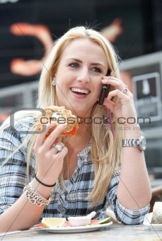 Beautiful blond on the phone