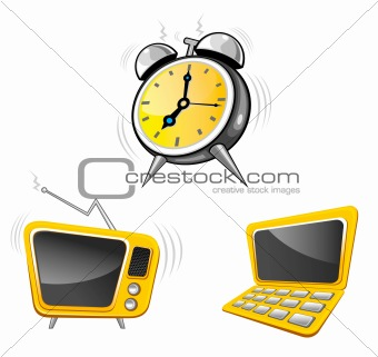 Clock,tv,calculator