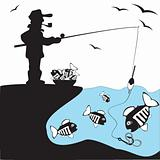 The fisherman smokes, catches huge, big fish, from coast, breakage on a fishing tackle in blue lake.