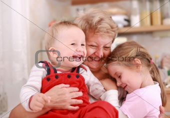 Happy children with granny
